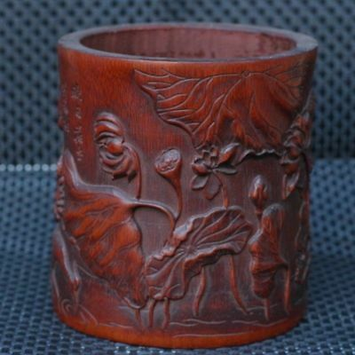 Chinese Exquisite Hand-carved Lotus and crane carving bamboo Brush Pots