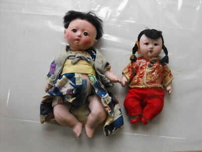 Antique Lot of 2 Asian Chinese Dolls Composite Beautiful! Wonderful Clothing