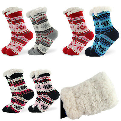 Women Thicken Knit Sherpa Lined Thermal Fuzzy Slipper Christmas Socks US 7-11
