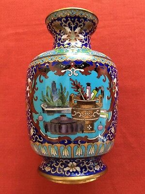 "Cloisonné Vase Flower 8"" Tall with Gold Trim Bright colors"