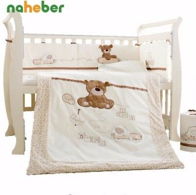 7Pcs 100% Cotton Lovely Bear Baby Cot Bedding 4 Sizes