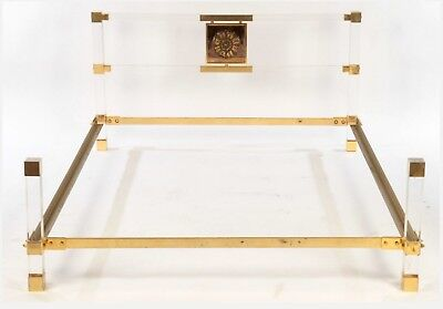 Rare Vintage Mcm Italian Lucite And Brass Full Size Bed