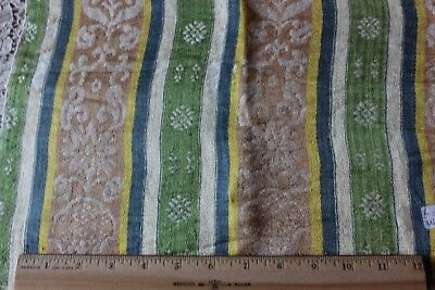 French Or Italian 18thC Home Dec Patterned Silk & Linen Stripe Fabric c1770
