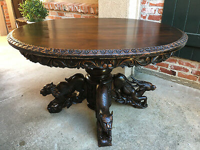 Antique Black Forest Carved Oak OVAL DINING HUNT TABLE Game Fox Monkey Stag Lion
