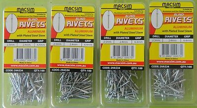 MACSIM - RIVETS  ALUMINIUM 2.4Mmm X 6.4mm GRIP - Qty 400  - p/n 29AS34
