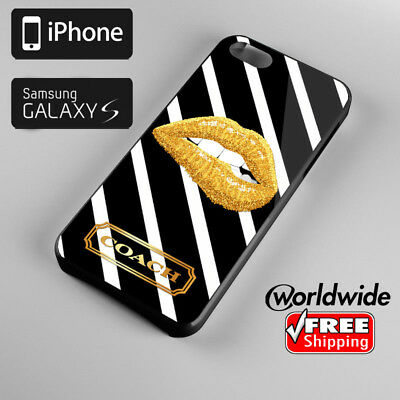 133Coach-036 NY Gold Lips Logo Cover For Apple iPhone Samsung Galaxy Case