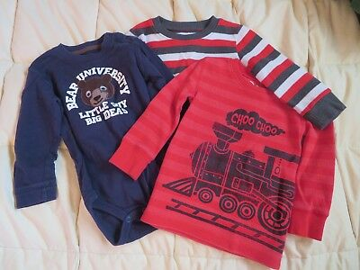 18 months baby toddler boy lot of 3 winter shirts train, bear, Christmas stripes
