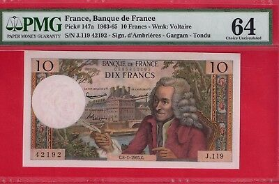 **  France  Pick # 147A 10 Francs Graded By Pmg Ch Cu 64 Wow   ***