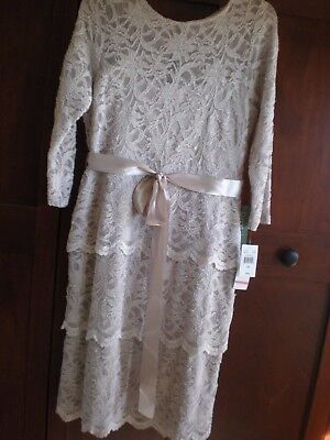 Mother of Bride/Groom TAUPE LACE dress NWT SIZE 10 Beautiful! Knee Length