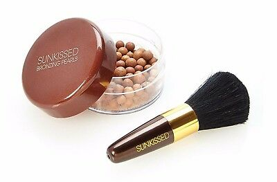 SUNKISSED Jumbo Large Bronzing Pearls &  Brush COMBO - For Face & Body 45g **NEW