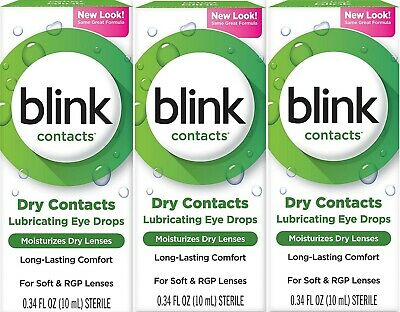 blink Contacts Lubricating Eye Drops for Soft & RGP Lenses 10 mL ( 3 pack )