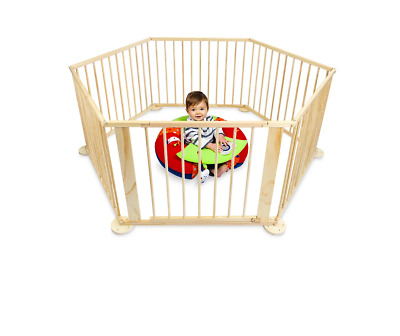 Baby Kids 6-8 Panels Playpen Toddler Divider Safety Gate Fence Natural Wooden AU