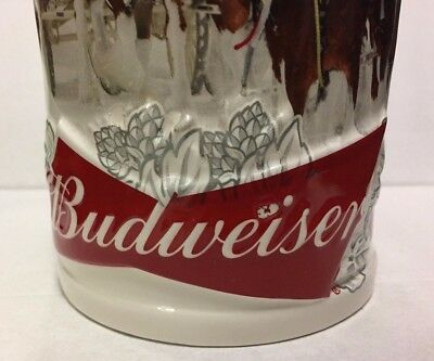2017 Budweiser Holiday Stein DEFECT IN LABEL Christmas Beer Mug 38th in Series