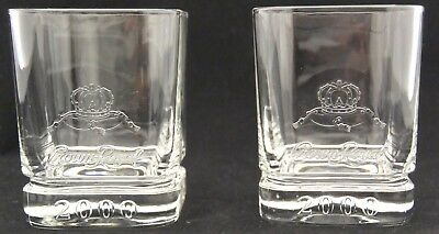 2 Crown Royal Whiskey Square Rocks Year 2000 Clear Glass Set of 2 Lot B #102