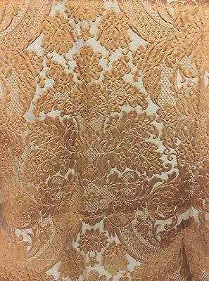 Antique 19thC French Silk Brocatelle Frame Fabric c1870-1880~Butterscotch Color