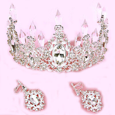 Baroque Crystal Queen Crown Tiara Silver White Sapphire Teardrop Full Earrings