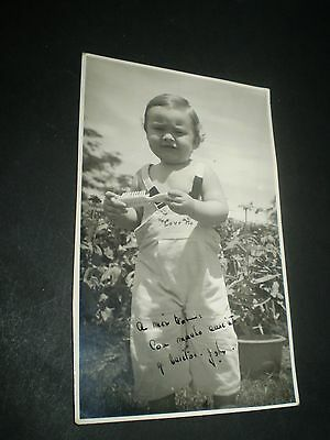 SOCIAL HISTORY 1950's sweet little boy in the garden fashion photograph 4x6'inch