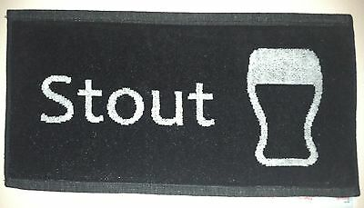 NEW - Pub/Bar Towel - Beer - Stout - White on Black