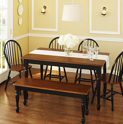 Kitchen Dining Set 6-Piece Furniture Table Chairs Bench Room Black and Oak Wood