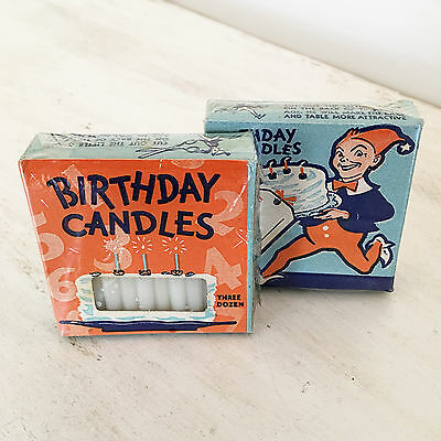 Vintage Birthday Candles Gnome Will & Baumer Two Boxes 1950