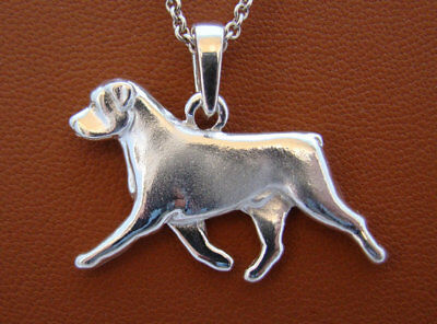 Small Sterling Silver Rottweiler Moving Study Pendant