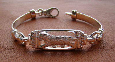 Sterling Silver Bearded Collie Moving Study Bracelet