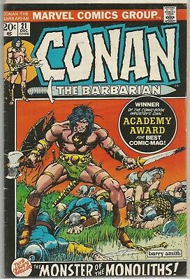 Conan the Barbarian #21 Marvel Bronze Age (1972) Comic FN/FN+ (Barry Smith Art)