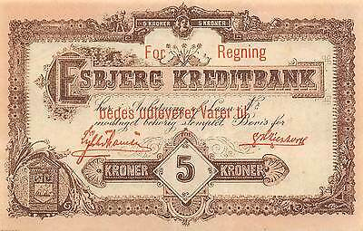 Denmark / Esbjerg  5 Kroner  ND.1910  S 164   circulated Banknote
