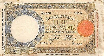 Italy  50 Lire  17.5.1943  Series N 1008 WW II Issue Circulated Banknote E11D