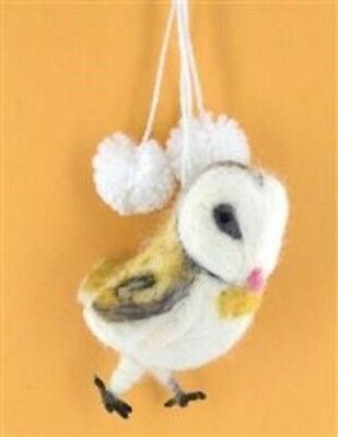 Victorian Trading Co Babette the Barn Owl Wool Felted Christmas Ornament New