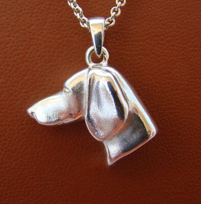 Small Sterling Silver Smooth Dachshund Head Study Pendant