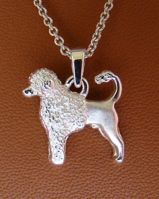 Small Sterling Silver Portuguese Water Dog Standing Study Pendant