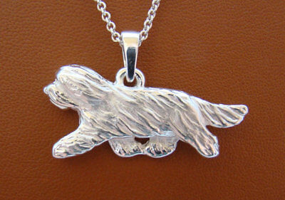 Large Sterling Silver Bearded Collie Moving Study Pendant