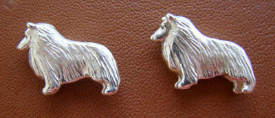Small Sterling Silver Sheltie / Shetland Sheepdog Standing Study Cuff Links