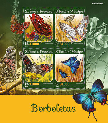 Sao Tome & Principe 2016 MNH Butterflies Butterfly 4v M/S Insects Stamps