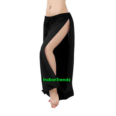 Black Chiffon Both Leg Slit Harem Yoga Pant Belly Dance Pantaloons Halloween