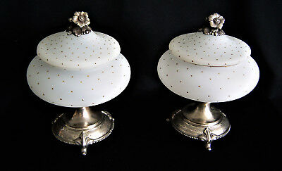 Pair lidded Compotes on silver plated bases Circa 1925