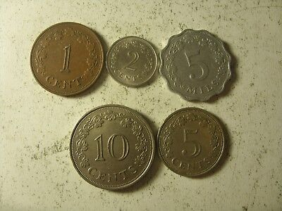 Lot Of 5 Malta Coin (Old Type)  5 Mils-10 Cents  1972/1977