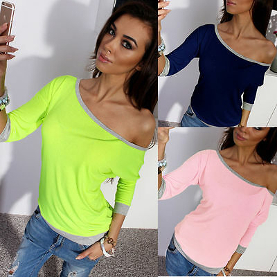 USA Fashion Sexy Women Cotton Blouse Off Shoulder Long Sleeve Casual Shirt Tops