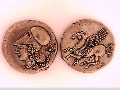 2Rooks Greek Greece Bruttium Or Corinth Stater Pegasus Horse Athena Helmet Coin