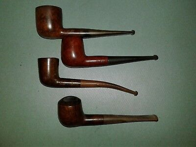 Lot of 4 Vintage Unbranded Real Briar Tobacco Estate Pipes