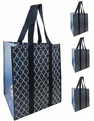 Reusable Extra Large Grocery Shopping Market Tote Bags, Reinforced Heavy Duty an