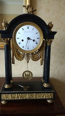 French 19th century slate and ormolu mounted mantel clock