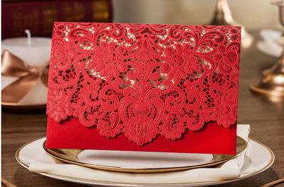 Personalised or Blank Luxury Floral Lace Laser Cut Wedding Red Invitation Card