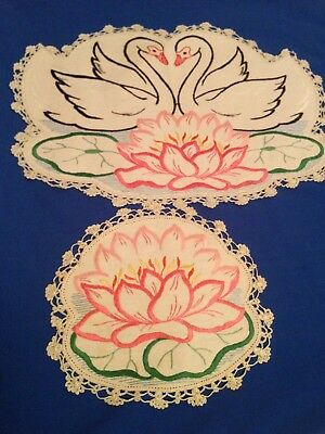 A Pair Of Stunning Swan / Pond Flower  Embroidered Doilies / Doily