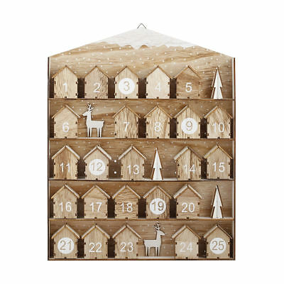 Mini House Christmas Advent Calendar Wooden Decoration Tree Countdown Kids Toy