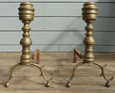 1800's FEDERAL PERIOD SMALL BRASS ANDIRONS - FIREDOGS