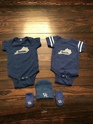 Infant 6 Month Kentucky Born Home One Piece Jumpsuit UK Wildcat Hat Glove Lot