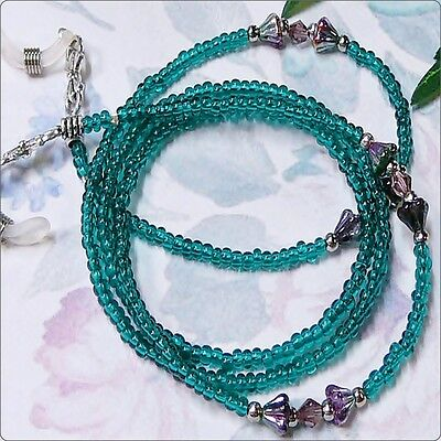 Reading eye glasses spectacle chain holder lanyard gift Teal and Purple crystal