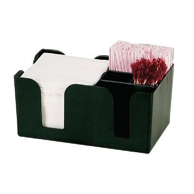 Black Bar Tidy Caddy Napkin Straw Cocktail Stirrer Storage Condiment Holder NEW